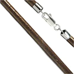 """3mm Dark Brown 26"""" Leather Cord Chain Sterling Silver Necklace"""