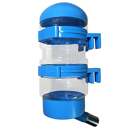 SatisPet Dog Water Dispenser in Blue 14 fl oz Water Bottle for Cats & Dogs – Leak-proof Fountain for Automatically Feeding Water That Hooks on the Pet's Crate Made of BPA Free Plastic