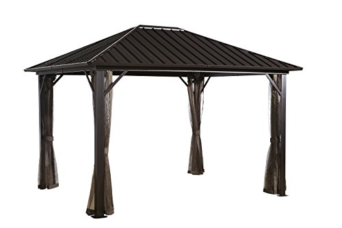 Genova 10 39 x12 39 dark brown 53 hard top sun shelter for Abri mural hardtop gazebo