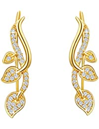 Yellow Chimes Swarovski Elements 22K Gold Plated Leafy Earcuff Style Earrings For Women And Girls
