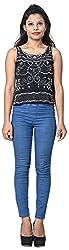 Izna Women's Slim Fit Top (IDWT109BLK-XX-Large, Black, XX-Large)
