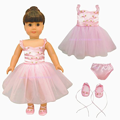 New 3 Item Bundle - Pink Dress Ballerina Set With Slippers - Ballet Dance Set - Fits American Girl 18 Inch Doll Clothes front-561730