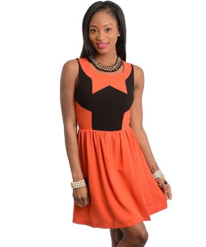 2Luv Women'S Sleeveless Geometric Color Block Dress Orange M(Id2201)
