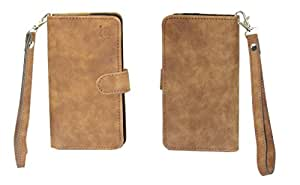 Jo Jo A9 Classic Leather Carry Case Cover Pouch Wallet Case For Elephone Trunk Dark Tan