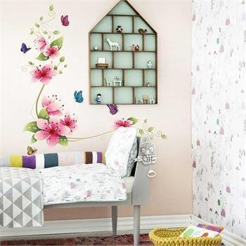 Nice Butterfly & Flower Glass Tile Wall Sticker Decal Mural for Room Decoration (Fireplace Border compare prices)