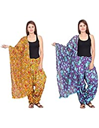 Rama Set Of 2 Floral Print Yellow & Purple Colour Cotton Full Patiala With Dupatta Set