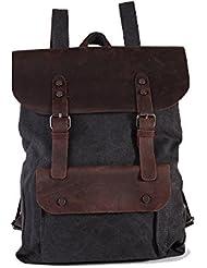 Lifewalker?men's Women's Vintage Canvas Travel Rucksack Backpack Genuine Leather Casual School Packsack Bag (Black)