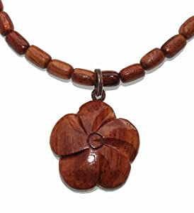 Hawaiian Wood Necklace, Hibiscus Flower