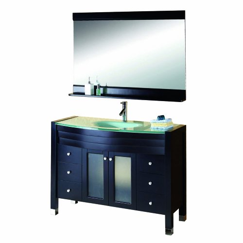 Virtu USA MS-509-G-ES Ava 48-Inch Single Sink Bathroom Vanity Set with Tempered Glass Countertop, Espresso Finish