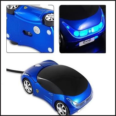 Oramics Computermaus LED Maus Auto Style Sportwagen Infrarot USB optische Maus mit LED in blau