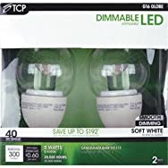 TCP RLDCG165W27K2 5W LED Globe Light Bulb-5W GLOBE LED 2PK BULB