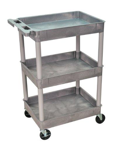 Luxor/H.Wilson  STC111-G 3 Tub Shelf Utility Cart, Gray