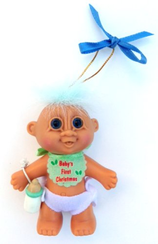 "My Lucky BABY'S FIRST CHRISTMAS Baby Boy 3"" Troll Doll Ornament Wearing Blue Bib & Diaper w/Bottle - 1"