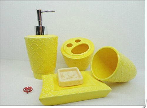 Fresh Yellow 4 Piece Bath Ensemble, Ceramic Bathroom Accessory Set with Soap Dish, Lotion Dispenser, Toothbrush Holder & Tumbler