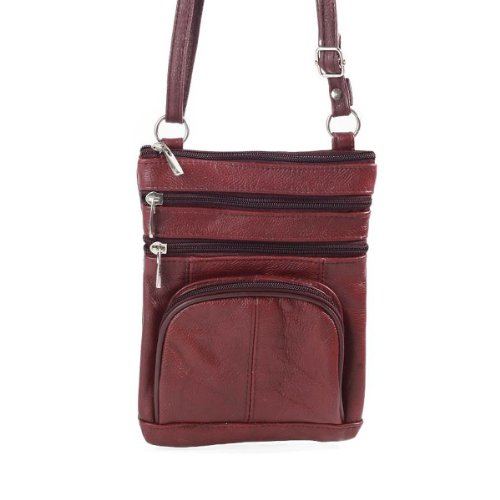 02. Roma Leathers Genuine Leather Multi-Pocket Crossbody Purse Bag