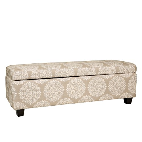 angelo:HOME Kent Storage Bench Ottoman in Filigree, Cream Tan