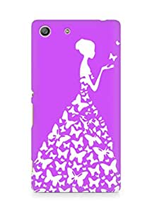 AMEZ designer printed 3d premium high quality back case cover for Sony Xperia M5 (light pink purple white girl princess)