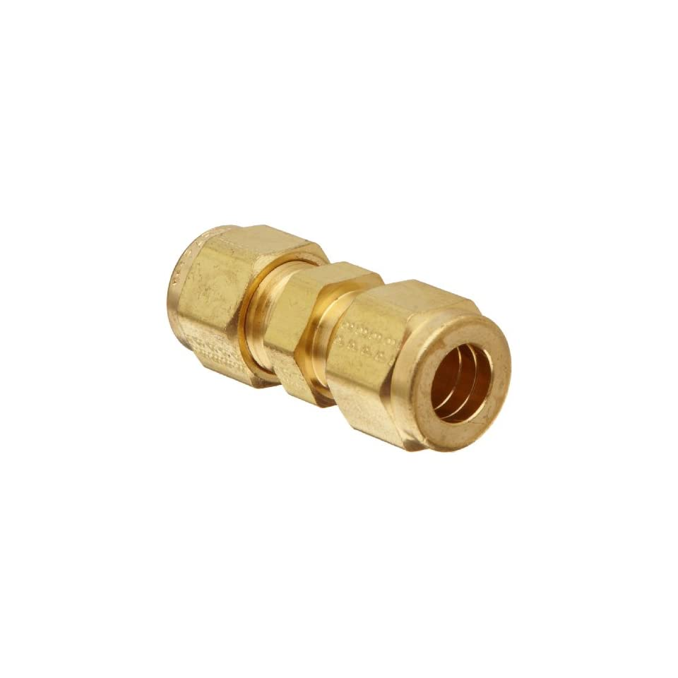 Parker A Lok 4BC4 B Brass Compression Tube Fitting, Bulkhead Union, 1/4 Tube OD