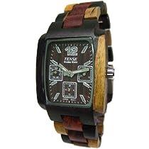 Tense All Wood Mens Jumbo Inlaid Tri Color Triple Window Dark Dial Watch J8302IDM DM