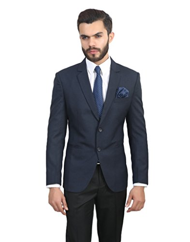 ManQ Blue Slim Fit Formal/Party Men's Blazer  available at amazon for Rs.1800