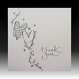 Wedding Gift Thank You Cards Pack : Pack of 6 White Wedding Gift Thank You Cards with Embossed Hearts ...