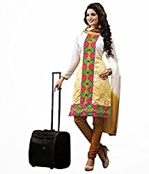 Tangerines Cream Color Cotton Unstitched Salwar Kameez Embroidered Dress Material