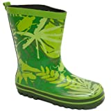 Kids Green Bug Girls Boys Rubber Rain Wellington Wellie School Boots