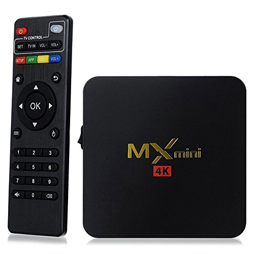 New MX Mini 4K Android 5.1 Set Top Box Amlogic S905 TV Box 1GB Memory 8GB ROM Bluetooth 4.0 with Google Search Play Store Online Games Movies - Black