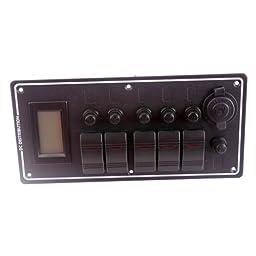 Generic DC 12V 5 Gang LED Car Boat Rocker Switch Panel Breaker With Overload Prtotected