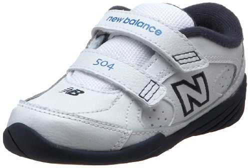 New Balance 504 H&L First Walker (Infant/Toddler),White/Navy,7.5 W US Toddler