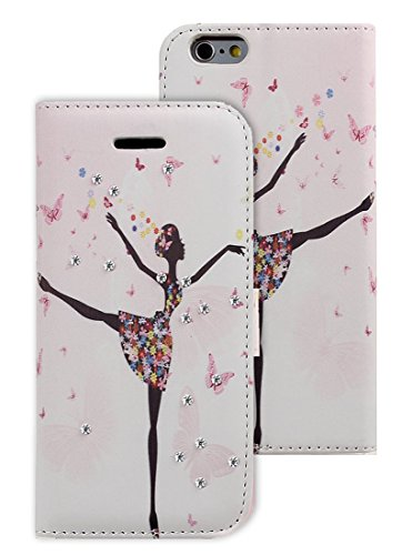 "Natuworld Case for iPhone 6 Plus (5.5"" Screen) - Dancing Girl Diamond Shiny Rhinestone PU Leather Cover with Card & ID Holder, Soft Silicone TPU Inner Case with Kickstand for 6 Plus"
