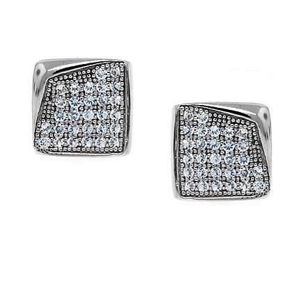 Bling Jewelry Sterling Silver Bent Corner Micro Pave Stud Earrings 11mm