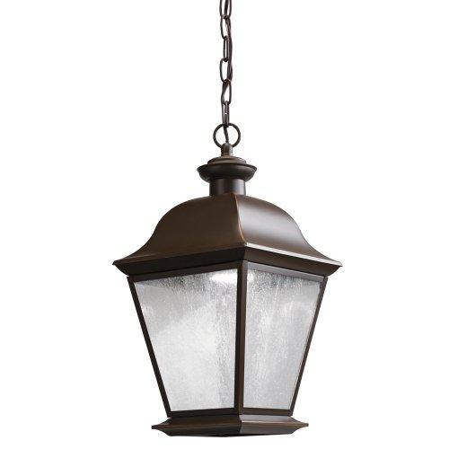Kichler Lighting 9809Ozled Mount Vernon 10W 3000K Led Exterior Hanging Lantern, Olde Bronze Finish With Etched Seedy Glass