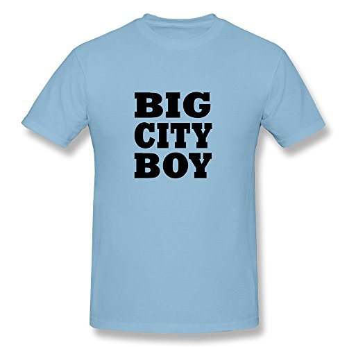 Facai Men'S Big City Boy Cotton Round Collar T Shirt Xl Skyblue