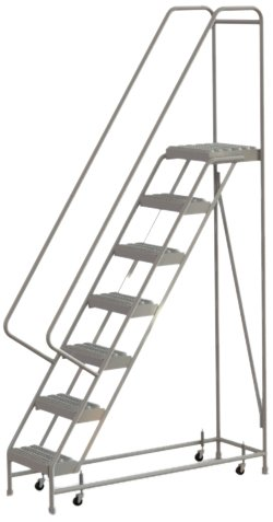 Tri-Arc WLAR107165 7-Step All-Welded Aluminum Rolling Industrial & Warehouse Ladder with Handrail, Grip Strut Tread, 16-Inch Wide Steps
