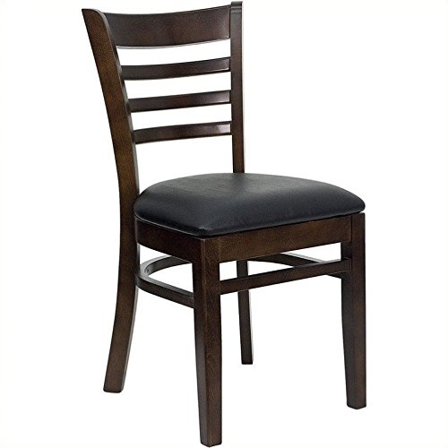 FlashFurniture XU-DGW0005LAD-WAL-BLKV-GG Hercules Series Walnut Finished Ladder Back Wooden Restaurant Chair with Black Vinyl Seat (Wooden Restaurant Chair compare prices)