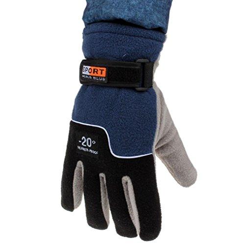 Perman Mens Thermal Winter Motorcycle Ski Snow Snowboard Gloves (Blue)