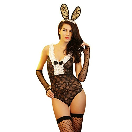 [COCO RUNA Sexy Black Lace Bunny Girl Costume Teddy Lingerie 4 Pieces Set] (Womens Sexy Bunny Costumes Lingerie)