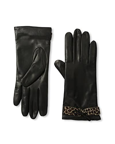 Portolano Women's Cashmere-Lined Leather Glove with Fur Belt