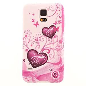 Pink Love Pattern TPU Soft Case Cover for Samsung Galaxy S5 I9600