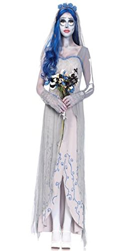 APARCHE Halloween Women's Grey Costume Undead Corpse Bride Dress Scary Zombie