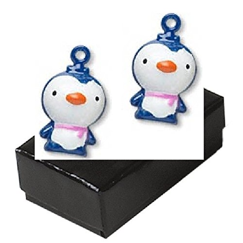Gift Boxed Pair Of Blue Enamel Penguin Bells Brass Jewelry Set front-405880