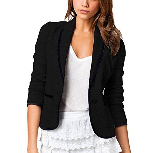 DELEY Donne Autunno Slim Fit Elegante Ufficio Business Giacca Tuta Blazer Top Camicetta Outwear Maglietta Nero Taglia M