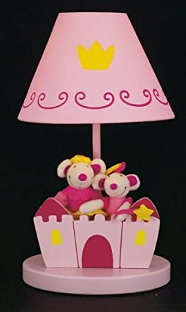 Sue Bee Ginna Nursery Children's Lamp - Pink Castle with Plush Twin Mice