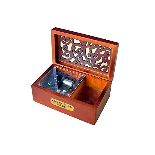 Laxury Creative Engraved Wooden 18-note Wind-up Musical Box,Musicl Toys,Tune:Always with Me from the Spirited Away
