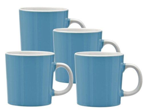 Culver Duncan Ceramic Mug, 14-Ounce, Ocean Blue, Set Of 4
