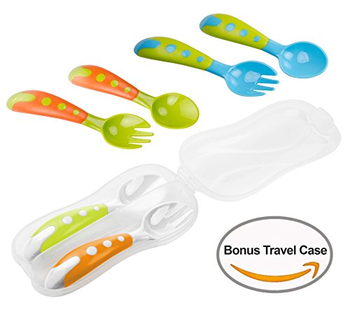 Lullababy Travel Safe Training 3 Spoon and Fork Set with Bonus Travel Carrying Case, Perfect Size Feeding Spoon and Fork