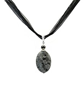"Necklace - N58 - Genuine Semi Precious Gemstone Hung on Five-Strand Organza and Cotton Cord + 2"" Extension Chain - Oval Shape ~ Black Laboradorite"