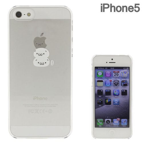 docomo au SoftBank iPhone5 iPhone5S 対応 Applus キャラクター ハード クリア iPhone ケース カバー ジャケット (白ショボーン)