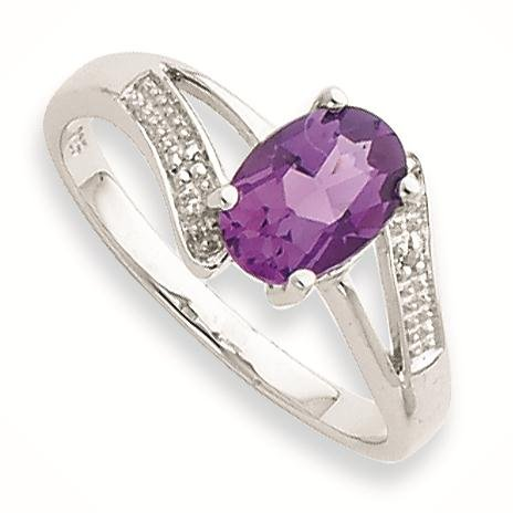 Sterling Silver Rhodium Amethyst & Diamond Ring